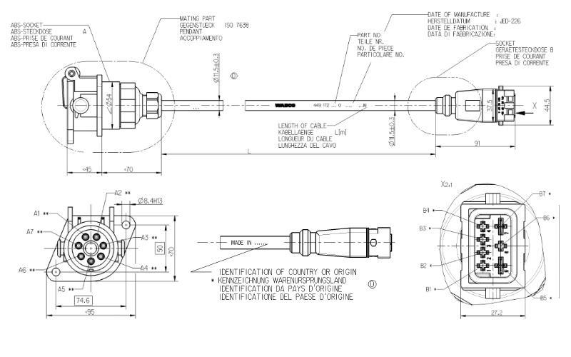 4491721200 Кабель 12m TEBS-D с розеткой EBS 7pin