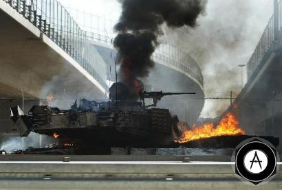 Уничтоженный огнем РПГ в Багдаде танк Абрамс