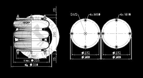 FT41232 Пневмоподушка тройной сильфон в сборе 12х3