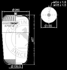 4737N Пневморессора без стакана MB Actros