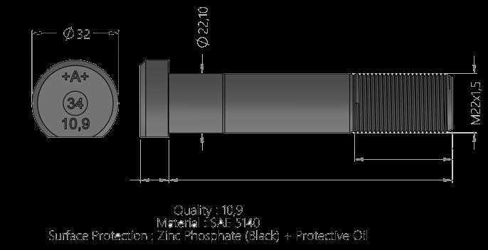 151B20 Шпилька М22х1,5х89 колесная МВ