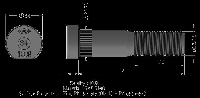 511B20 Шпилька M22x1,5x77 колёсная RVI
