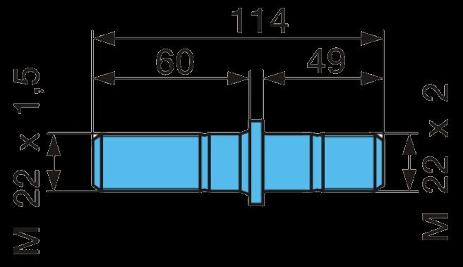 356B30 Шпилька колесная BPW M22x1,5-22x2  L=114