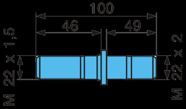 362B30 Шпилька колесная BPW М22x1,5-M22x2  L=100