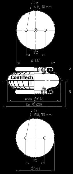 FS120-9CI Пневмоподушка одинарный сильфон в сборе