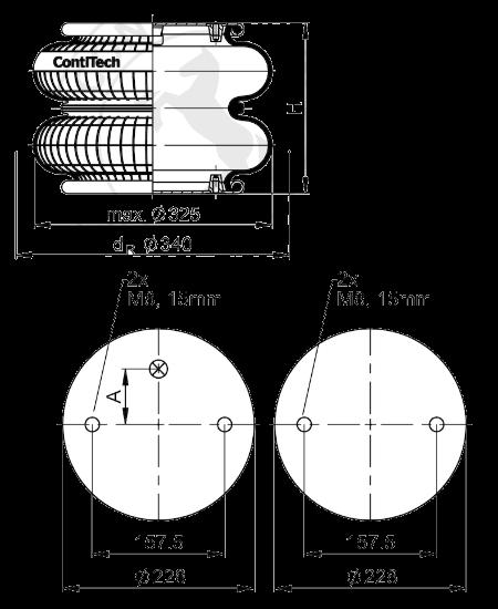 FD33022CI Пневмоподушка двойной сильфон в сборе