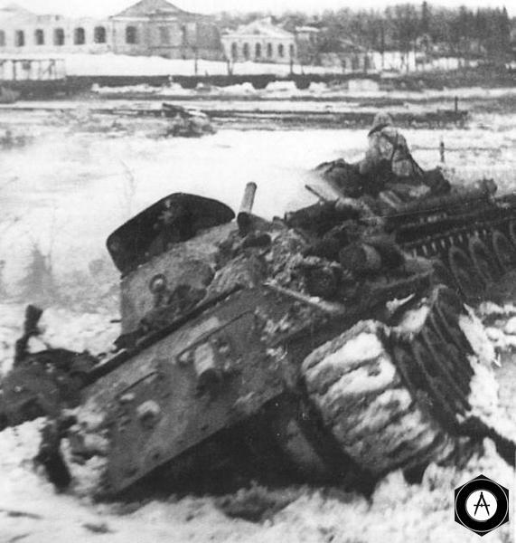эвакуация застрявшего Т-34 зима 1942