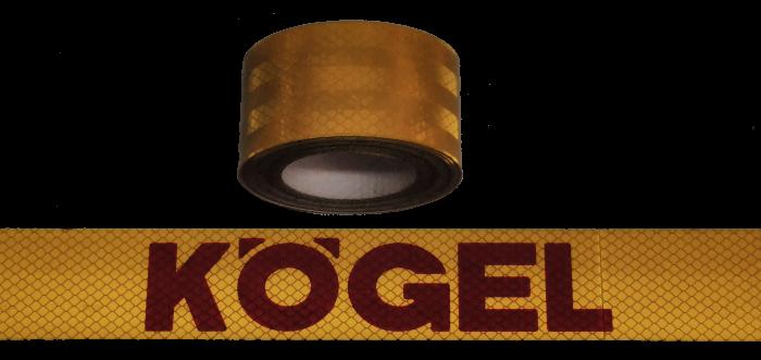 380407 Светоотражающая жёлтая лента, логотип KOGEL-красный, 6,5м