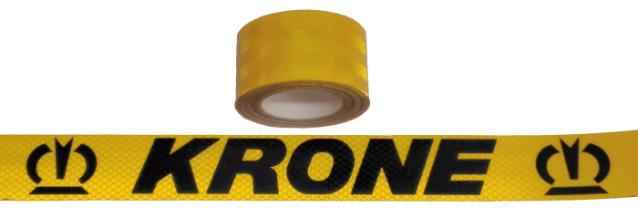 380398 Светоотражающая жёлтая лента, логотип KRONE-чёрный 6,5м