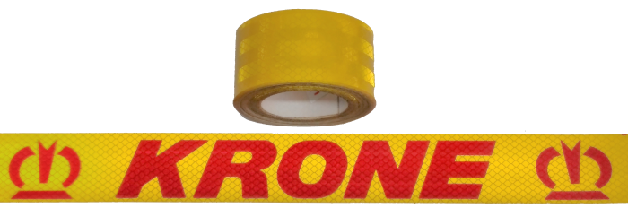 380406 Светоотражающая жёлтая лента, логотип KRONE-красный, 6,5м