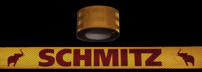 380405 Светоотражающая жёлтая лента, логотип SCHMITZ-красный 6,5м