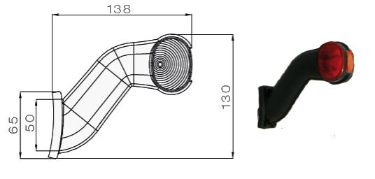 5313604047 Фонарь полного габарита-рог правый LED с кабелем