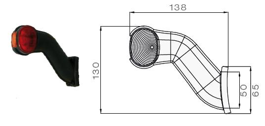 5313604057 Фонарь полного габарита-рог левый LED с кабелем