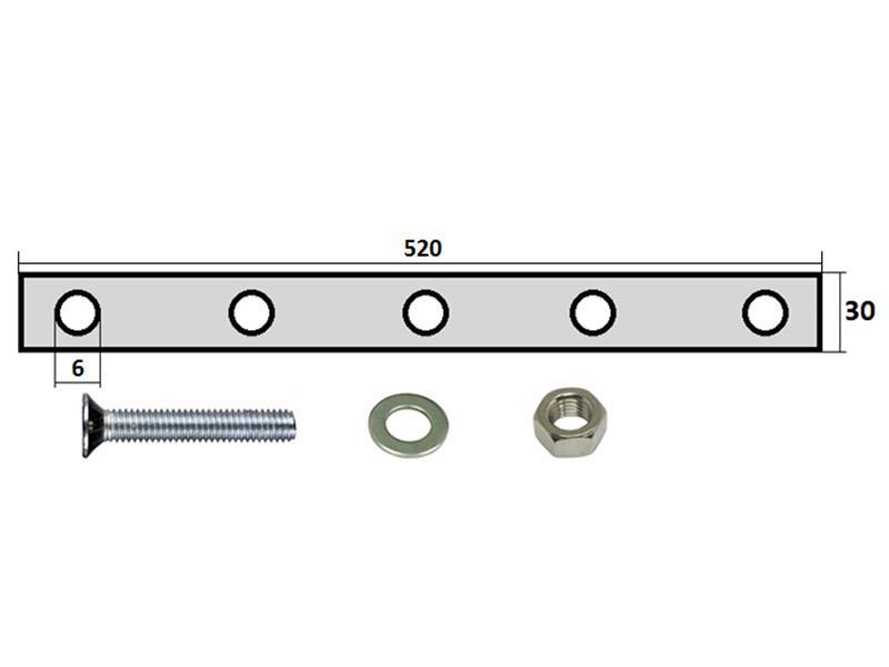 99103 Комплект крепления брызговика 520х330мм