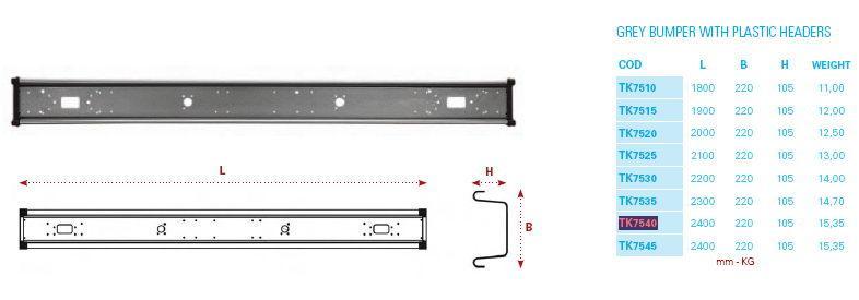 TK7540 бампер прицепа 2400мм универсальный с заглу