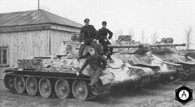 взвод модернизированных немцами трофейных Т-34