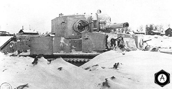Т-28 в окопе зима 1941, Ленинградский фронт