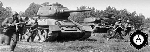 Атака пехоты и танков 1944