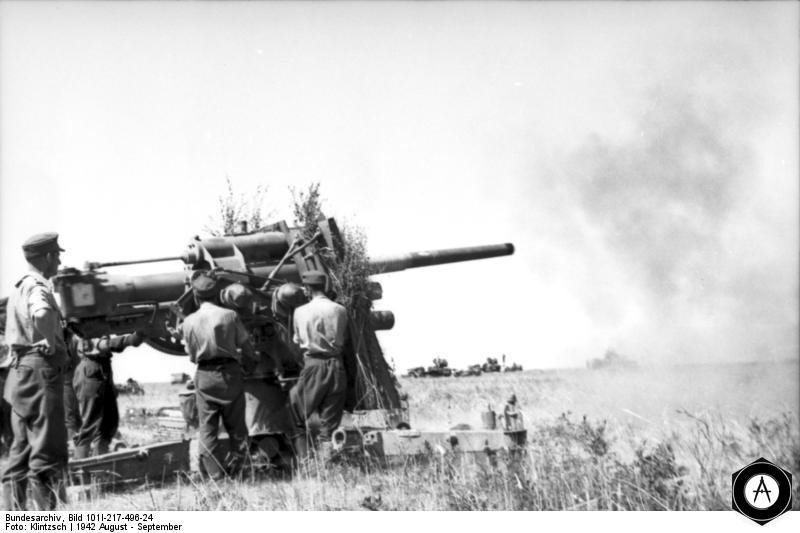 Зенитка 36-37 отражает танковую атаку, Украина, лето 1941