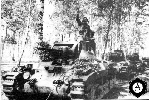 Рота танков Матильда перед атакой позиции противника