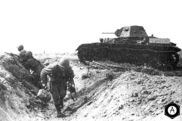 Т-60 поддерживают атаку пехоты
