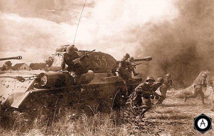 Танки ИС-2 с десантом во время атаки