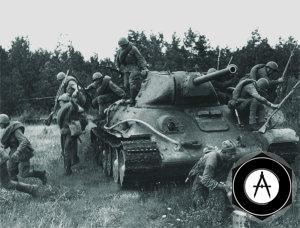 Танковый десант спешивается с танка Т-34-76 образца 1941