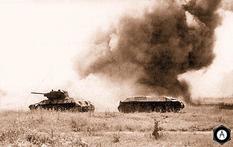 Эвакуация Т-34 с поля боя