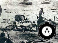 Бойцы отражают танковую атаку