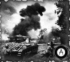 Пехота РККА идёт в атаку при поддержке английского пехотного танка Матильда