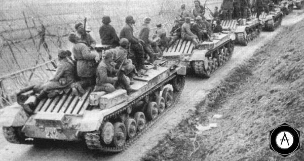 колонна танков Валентайн с десантом на броне