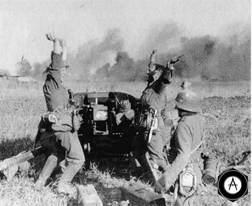 танковая атака русских отбита расчётом 75мм PAK 40