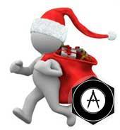 типа Дед Мороз с мешком новогодних подарков