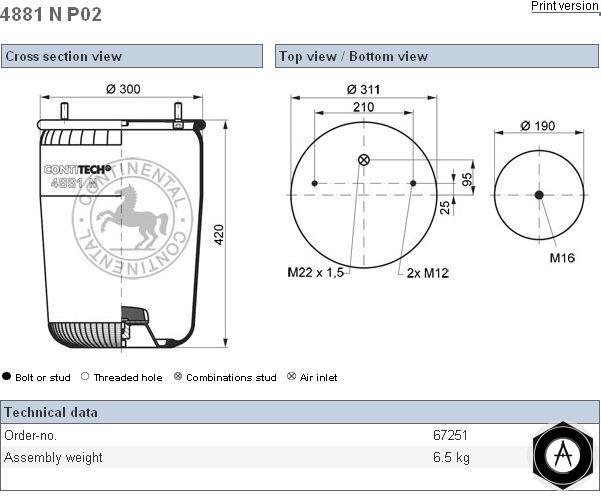 4881NP02 Пневмобалон без стакана