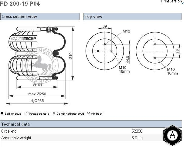 FD20019P04 Пневмоподушка в сборе двойной сильфон