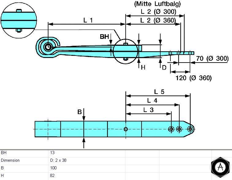 Полурессора двухлистовая BPW 0508212610