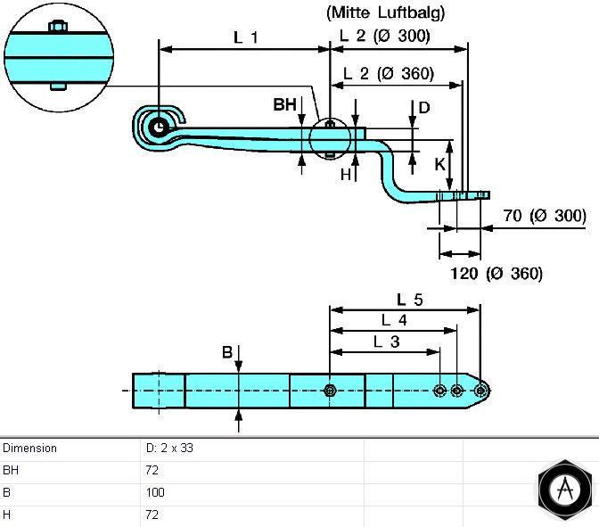 Полурессора двухлистовая BPW 0508212630