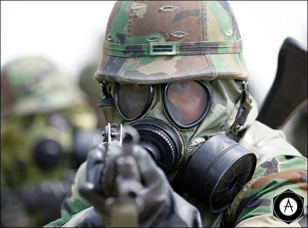 Южнокорейский солдат во время антитеррористических учений