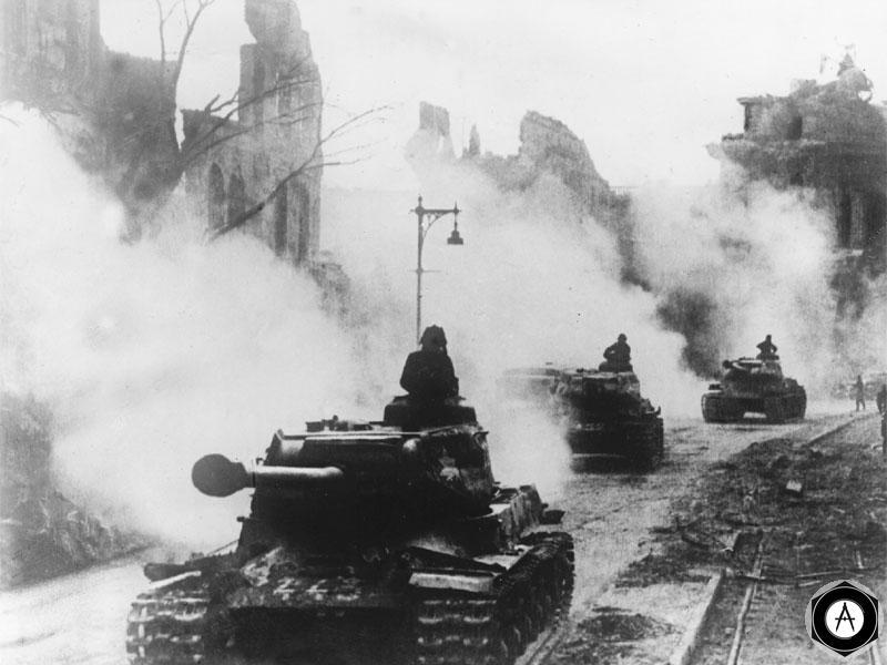 Берлинская операция Танки ИС-2 на улице Берлина