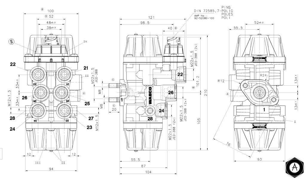 9347050050 Кран 4х контурный, осушителя воздуха 12 BAR