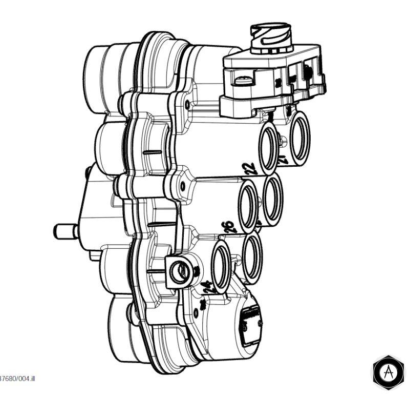 AE4510 Кран осушителя воздуха , 4х контурный 12 BAR