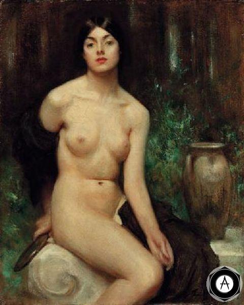 Обнаженная за туалетом_A_Female_Nude_at_her_toilet Артур Хэкер