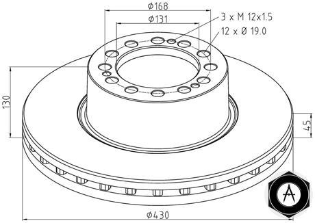 4079000500 Диск тормозной вентилируемый SAF