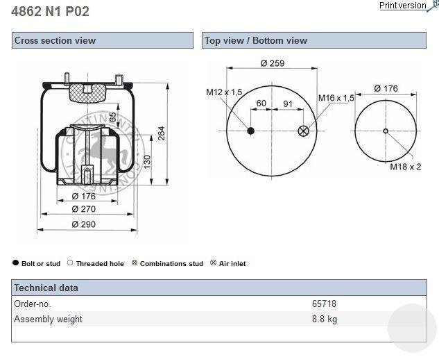 4862N1P02 Пневморессора в сборе MAN TGL
