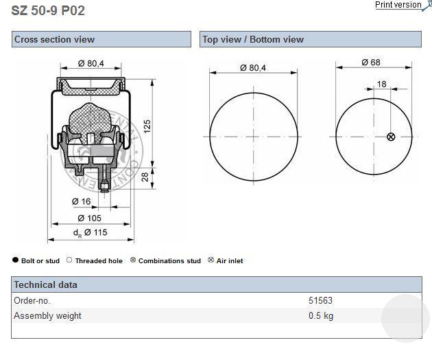 SZ509P02 Подушка кабины RVI Premium передняя