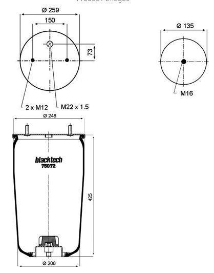 RML75072 Пневмобалон без стакана BPW 30K