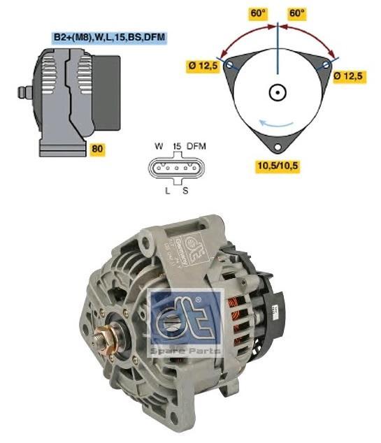 464040 Генератор 28V 80A