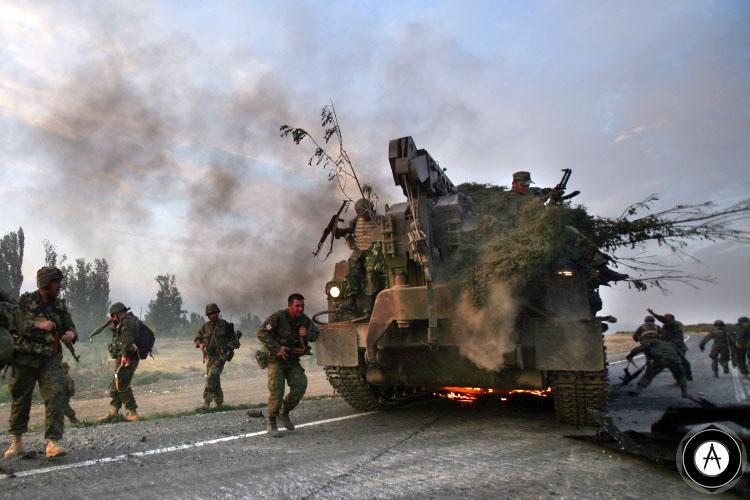 горит грузинская БРЭМ Южная Осетия 2008