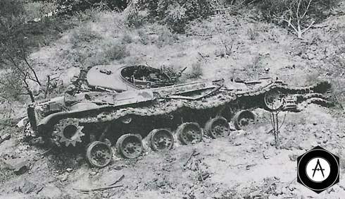 Израильский танк, подбитый ПТРК Малютка в районе деревни Султан-Якуб