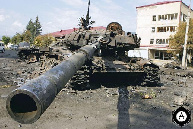Подбитые грузинские танки в Цхинвали